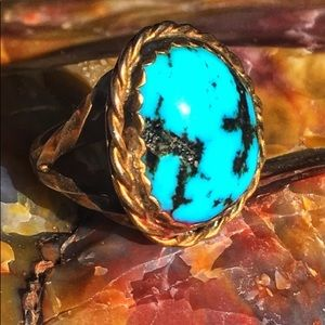 VINTAGE NAVAJO ROBINS EGG TURQUOISE RING SIZE 6🌵